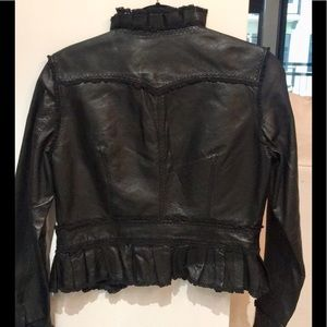 Genuine leather jacket with lace & ruffle detail